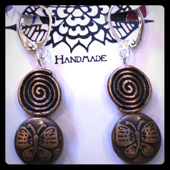 Copper Flutterby Spiral Earrings